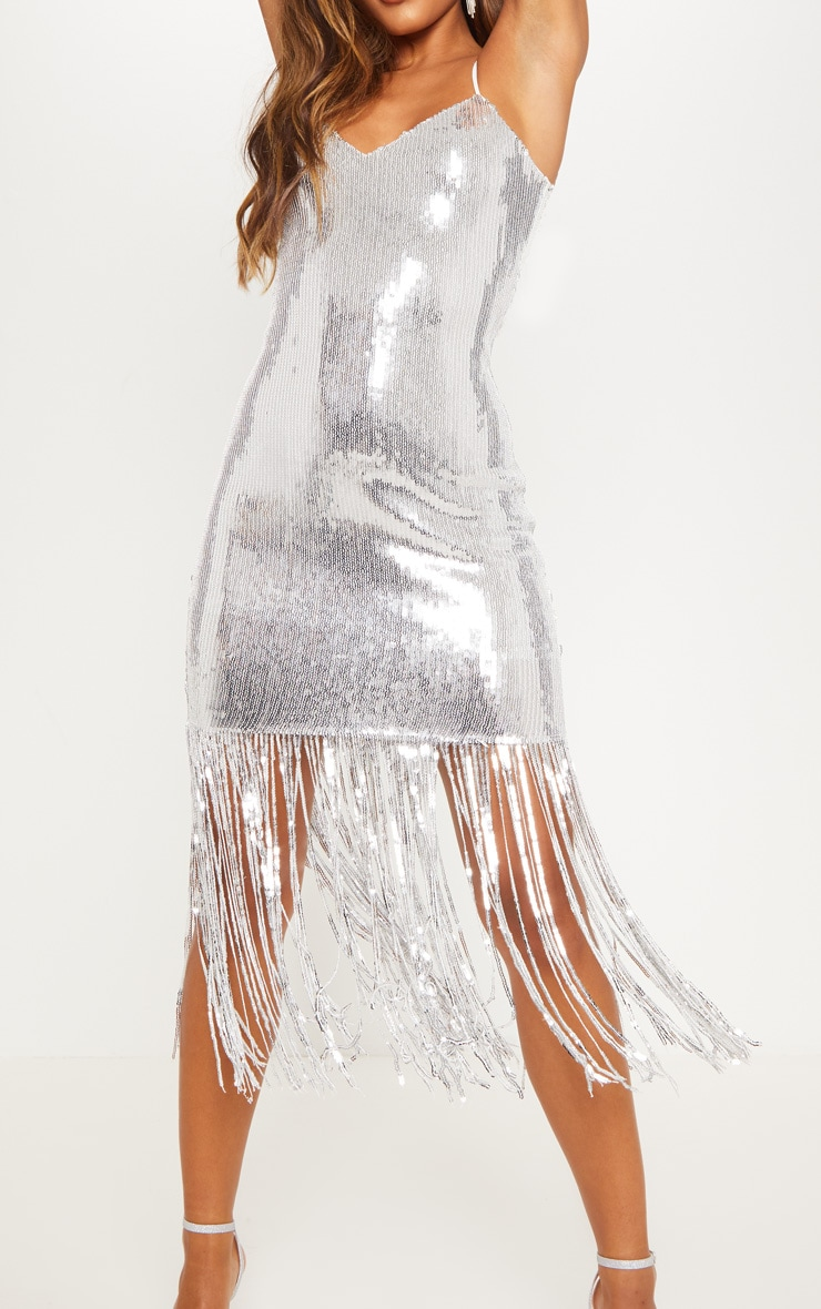 Silver Sequin Tassel Hem Midi Dress 6