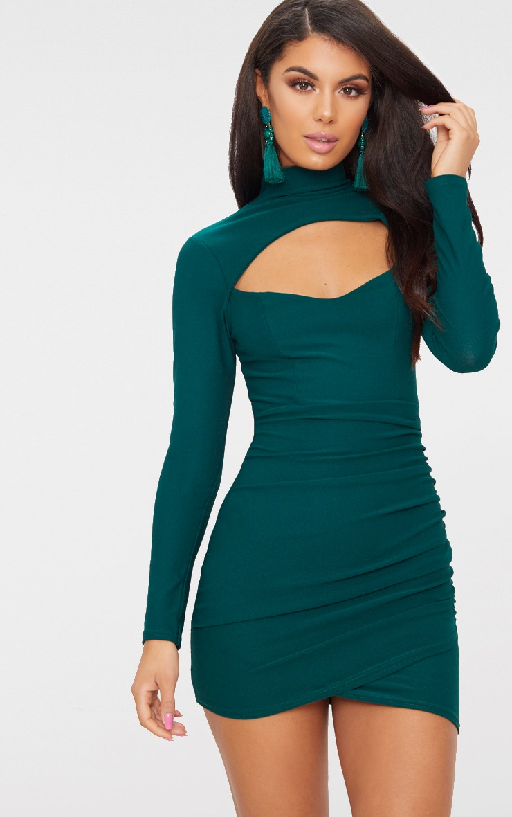 Emerald Green High Neck Cut Out Ruched Detail Bodycon  1