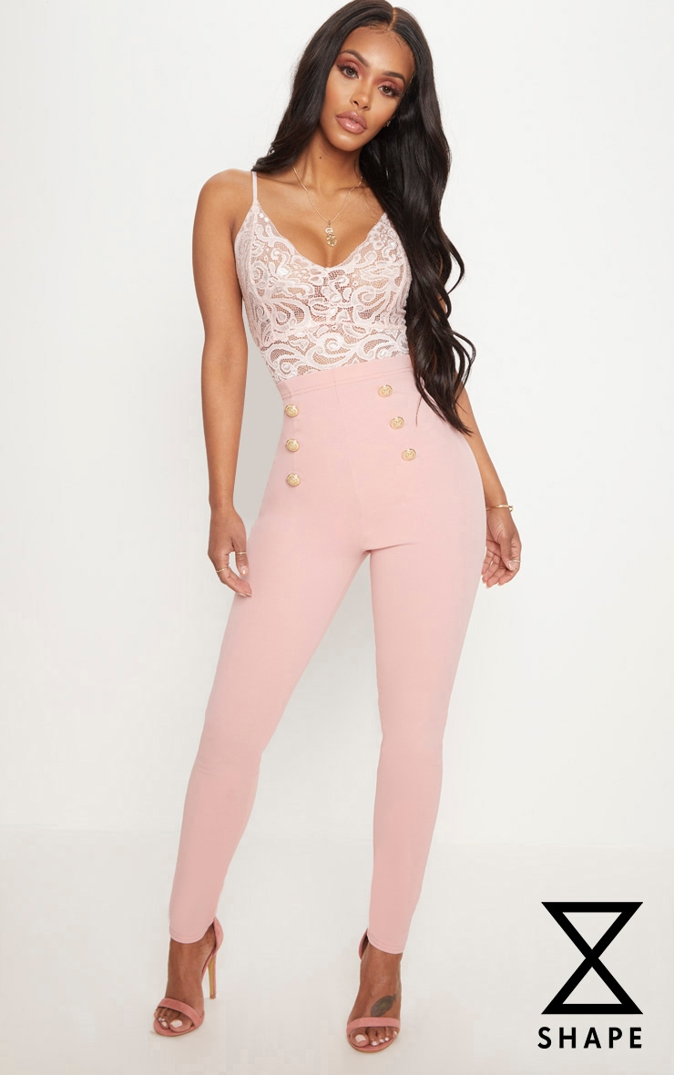 Shape Dusty Pink Military Button Skinny Trousers