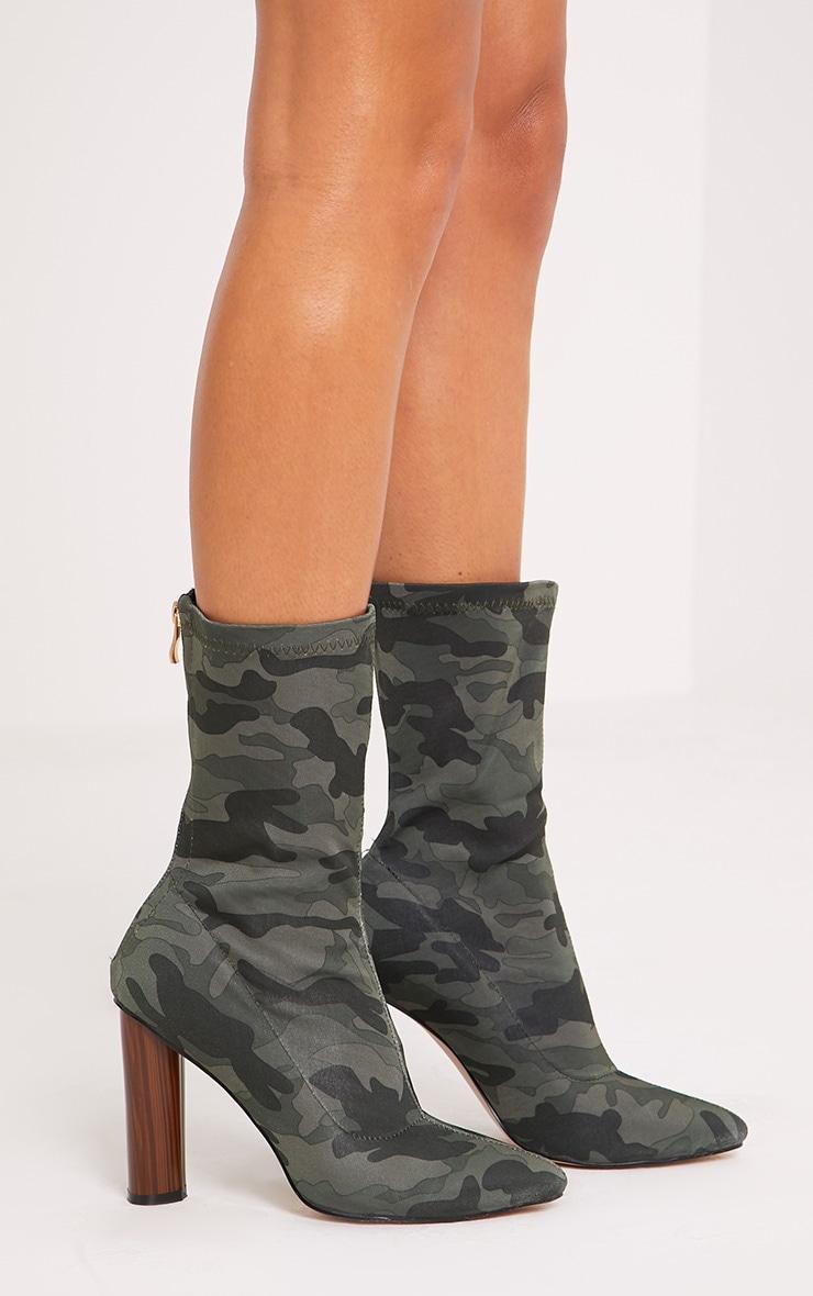Mikayla Khaki Camouflage Sock Boots 3