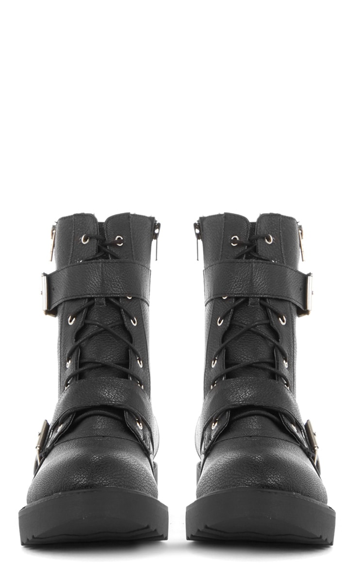Aby Black Double Buckle Biker Boot  3