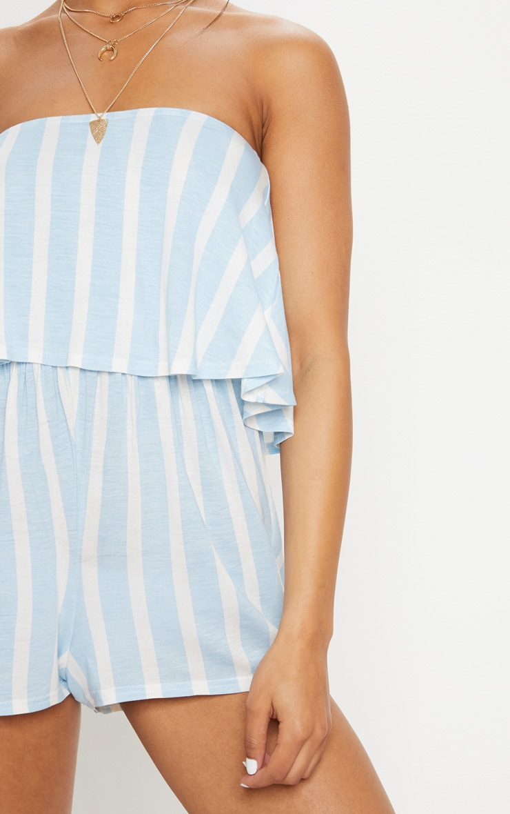 Powder Blue Striped Bandeau Layered Playsuit 5