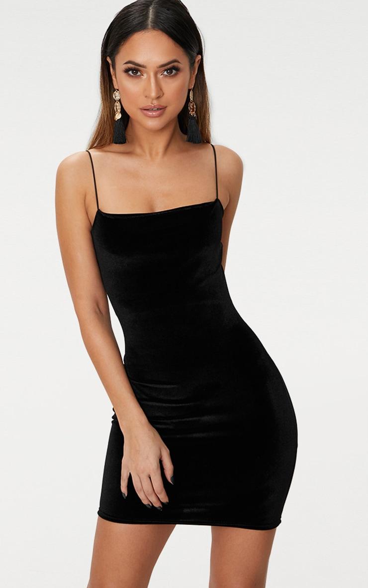 Black Velvet Straight Neck Bodycon Dress 1