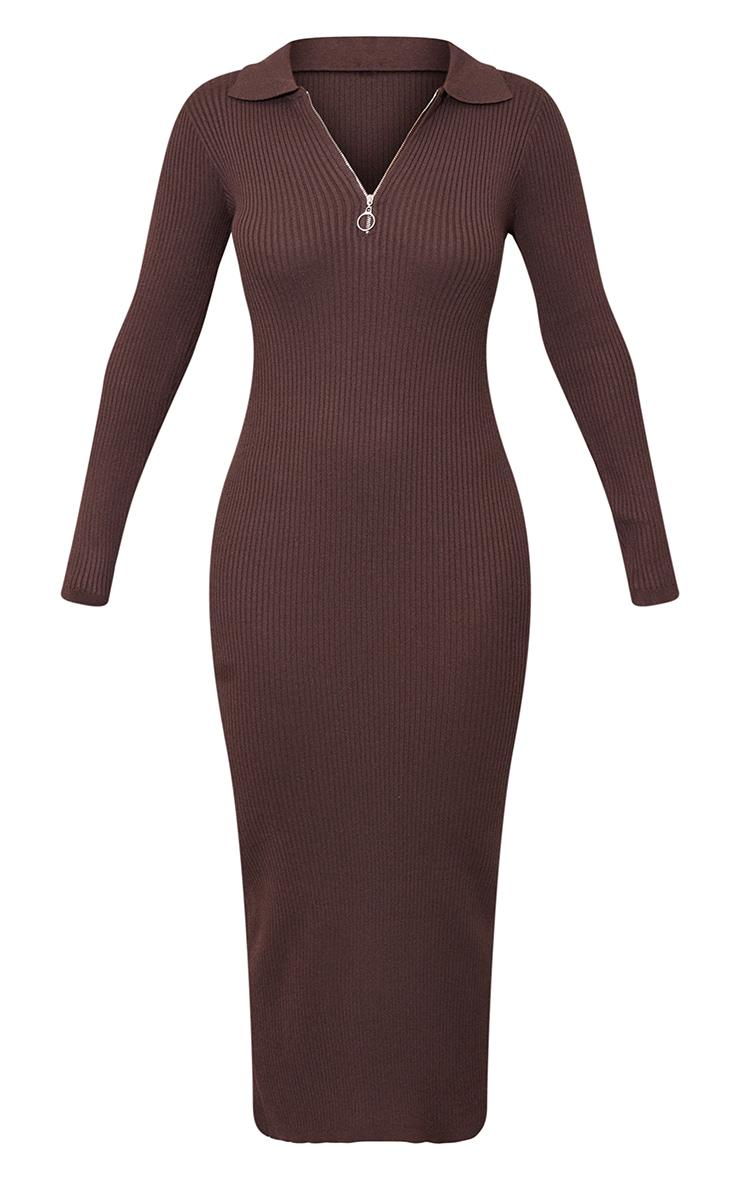 Chocolate Half Zip Collar Detail Knit Maxi Dress 5