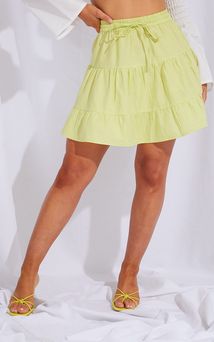 Pale Lime Cotton Drawstring Tiered Skater Skirt 2