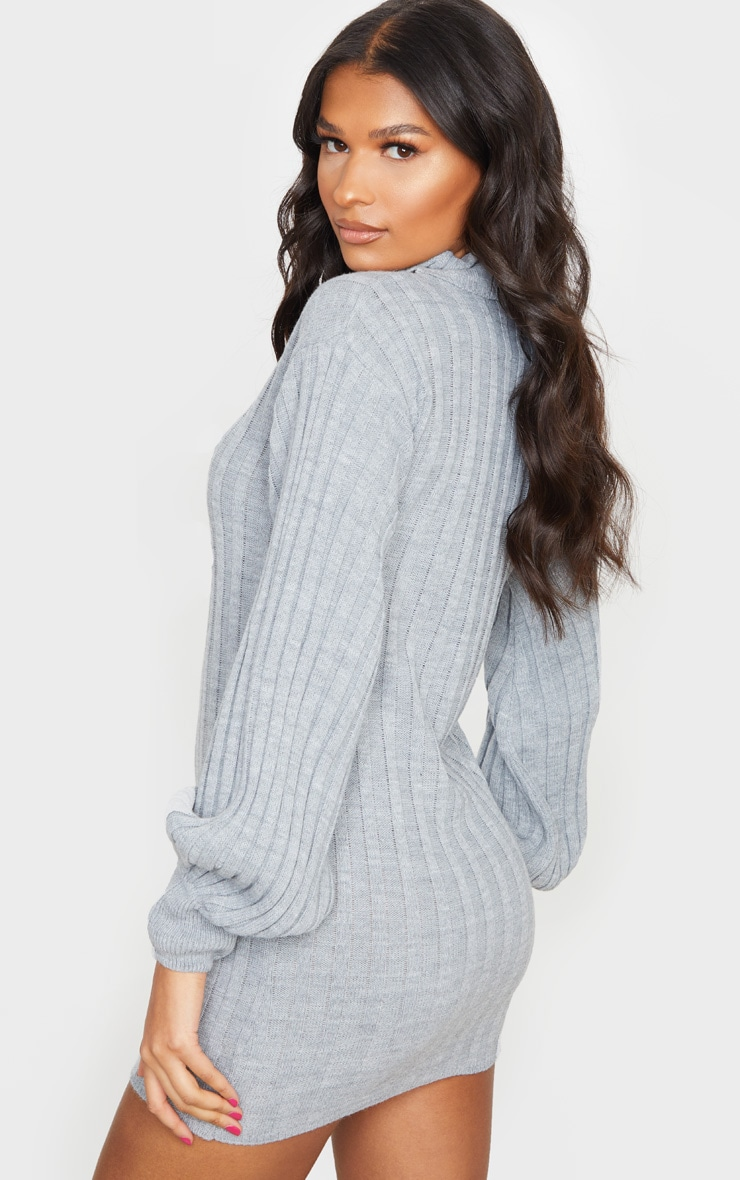 Grey Roll Neck Ribbed Knitted Sweater Dress 2