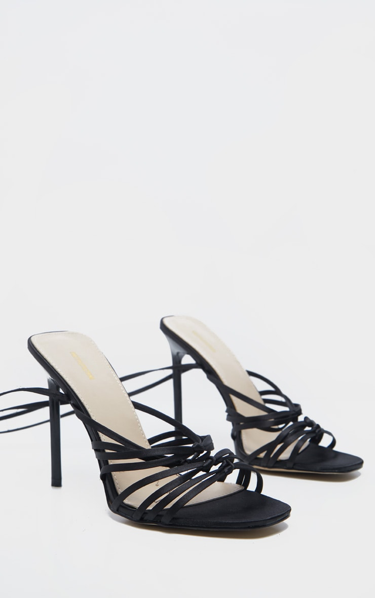 Black Satin Strappy Lace Up Sandal  3