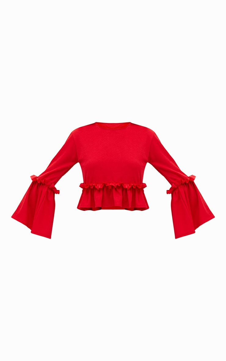 Red Frill Sleeve Top 3