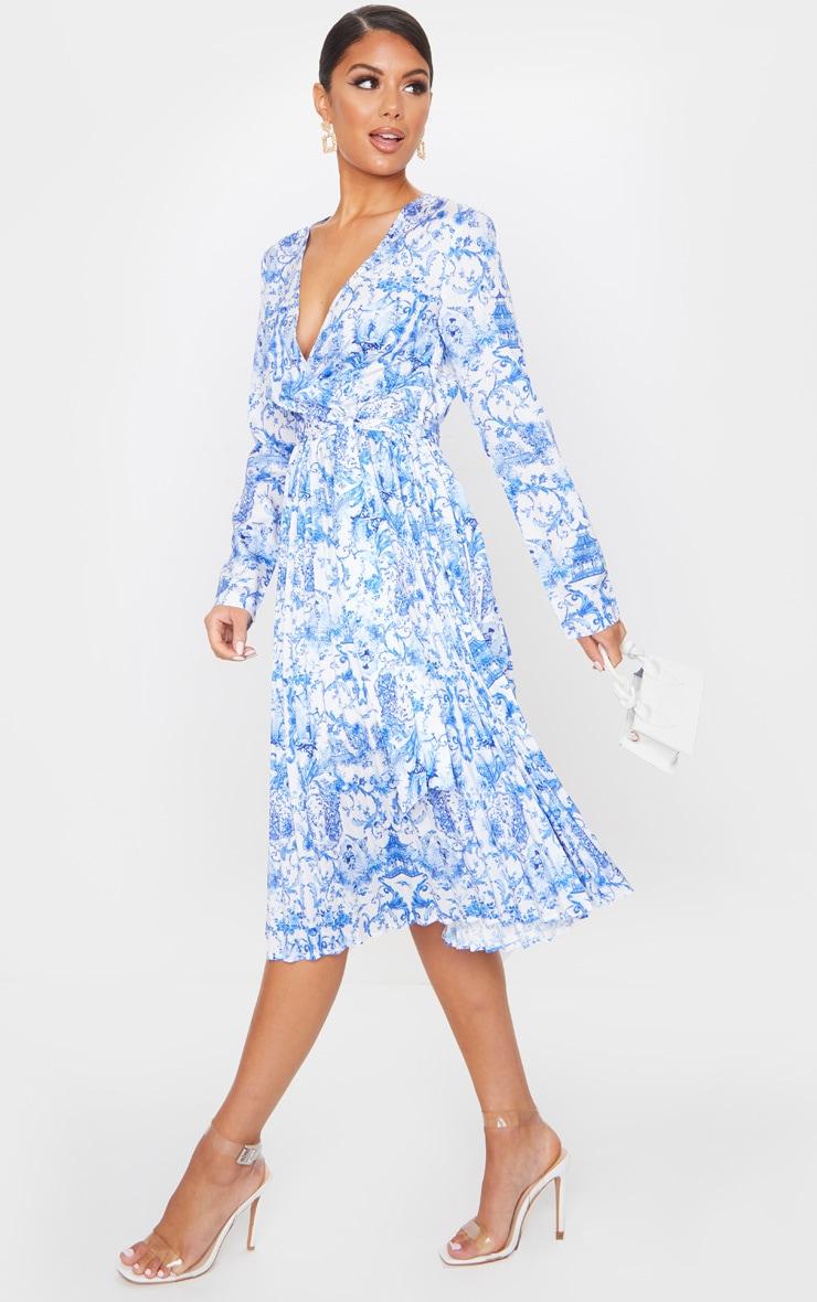Blue Porcelain Print Long Sleeve Pleated Midi Dress 3