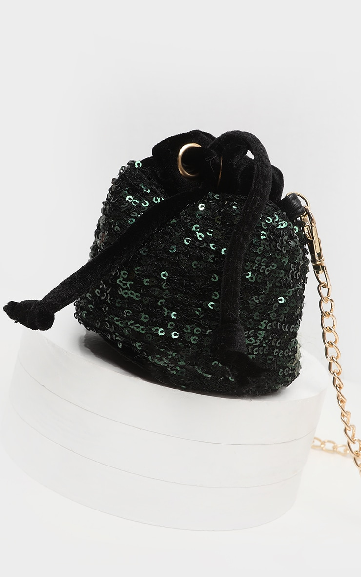 Green Sequin Mini Duffle Bag 5