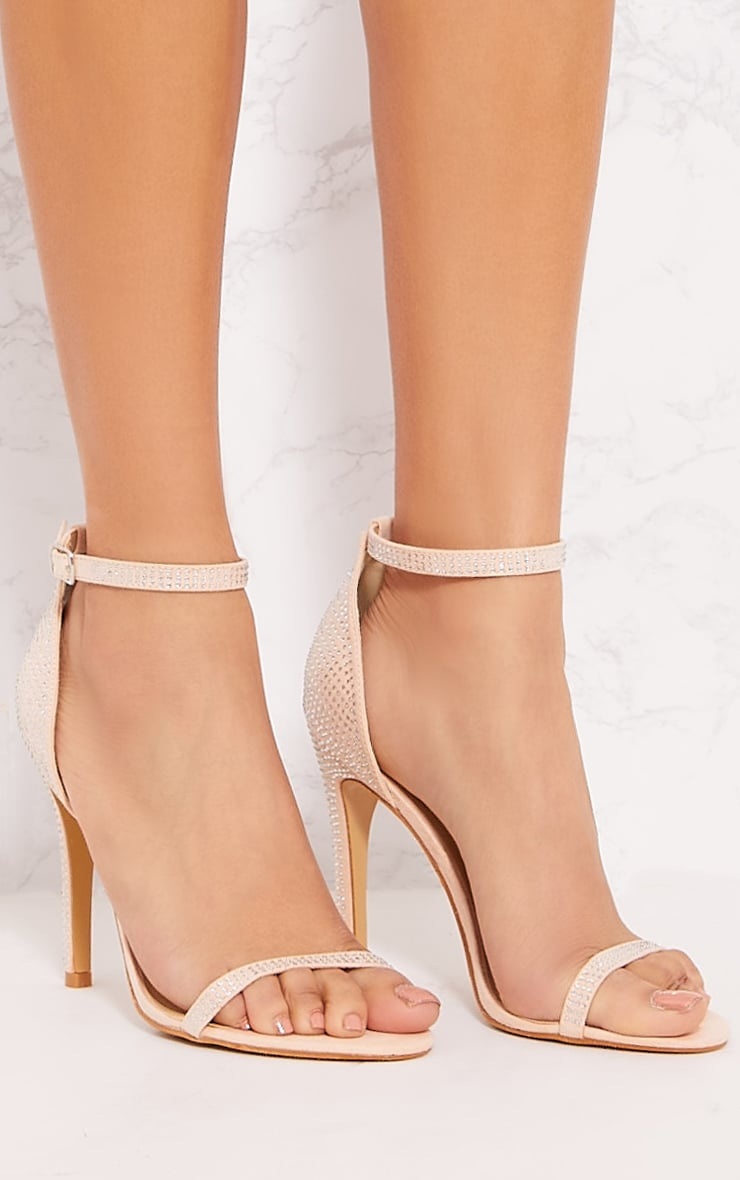 Nude Diamante Barely There Heel Sandal 4