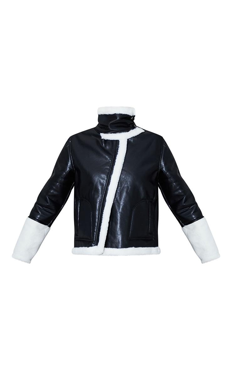 Black Faux Leather Contrast Coloured Faux Fur Pocket Front Aviator 5