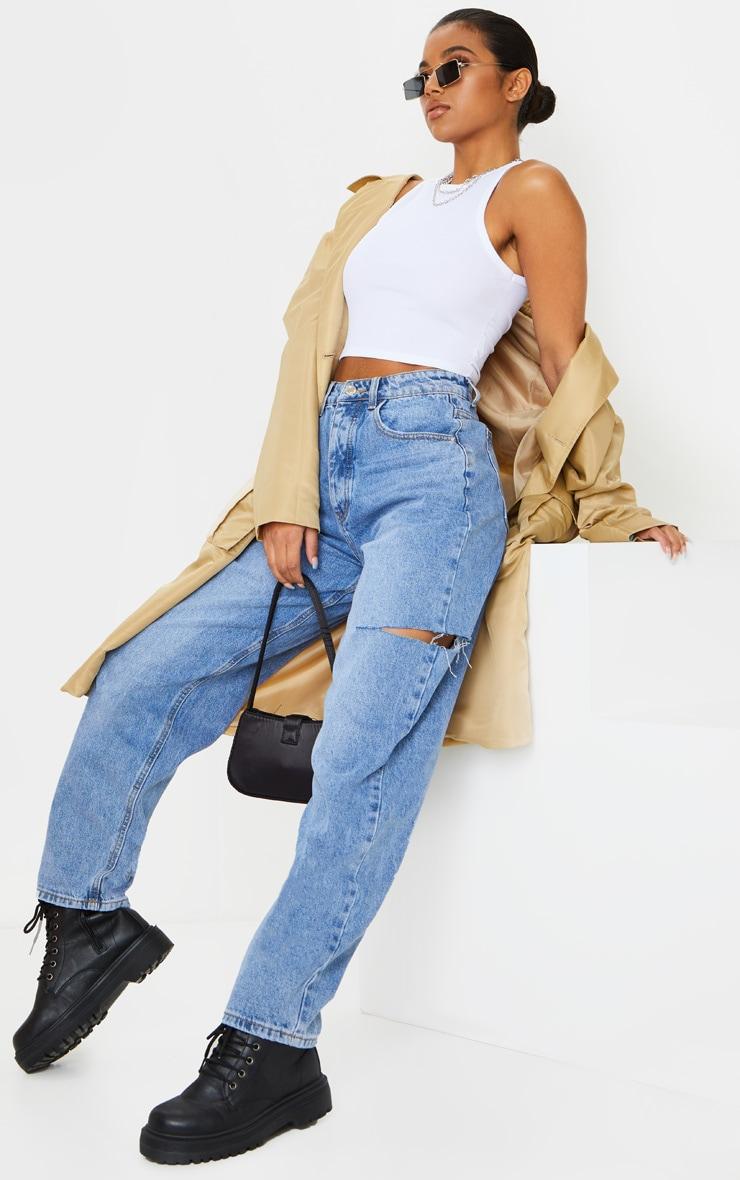 Mid Wash Thigh Split Baggy Boyfriend Jeans image 1