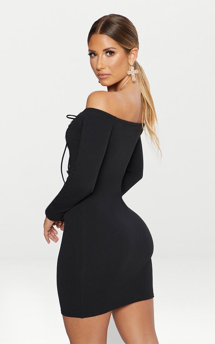 Black Lace Up Bardot Bodycon Dress 2