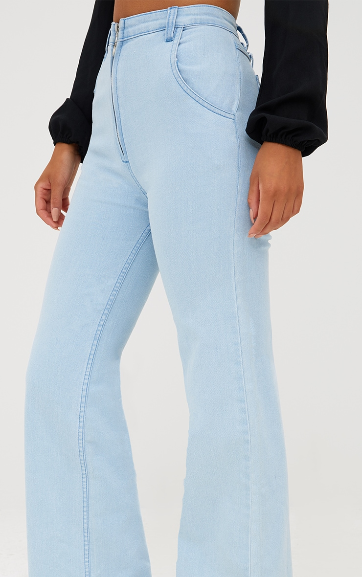 Light Wash Ring Pull Extreme Wide Leg Jeans 6