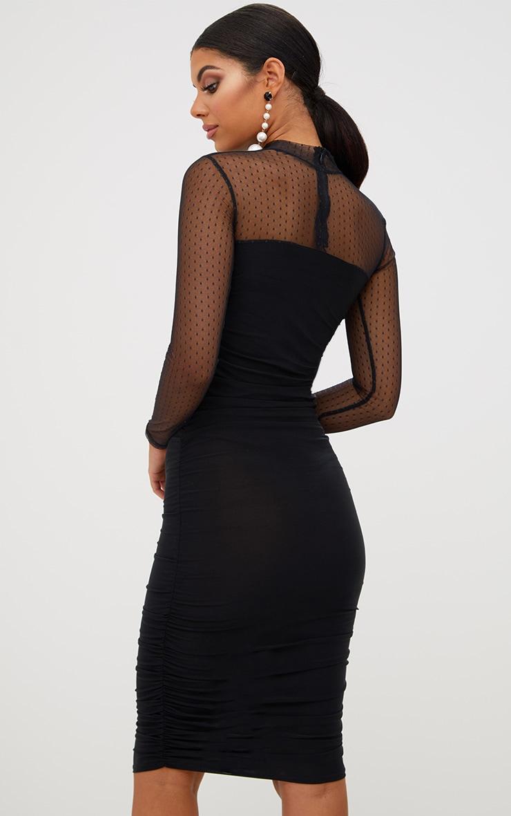 Black Dobby Mesh Bodycon Dress 3