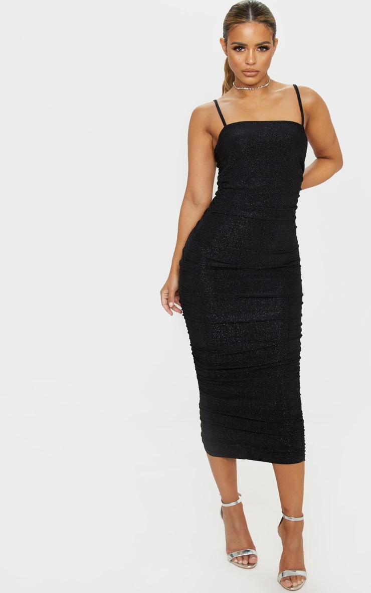 Petite Black Textured Glitter Ruched Midi Dress 1