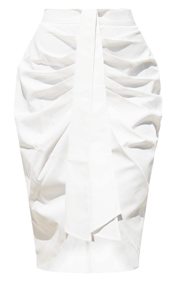 White Foldover Button Through Midi Skirt 5