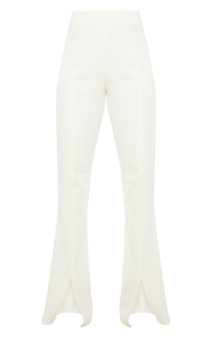 Cream Woven Seam Front Split Hem Flared Pants 5