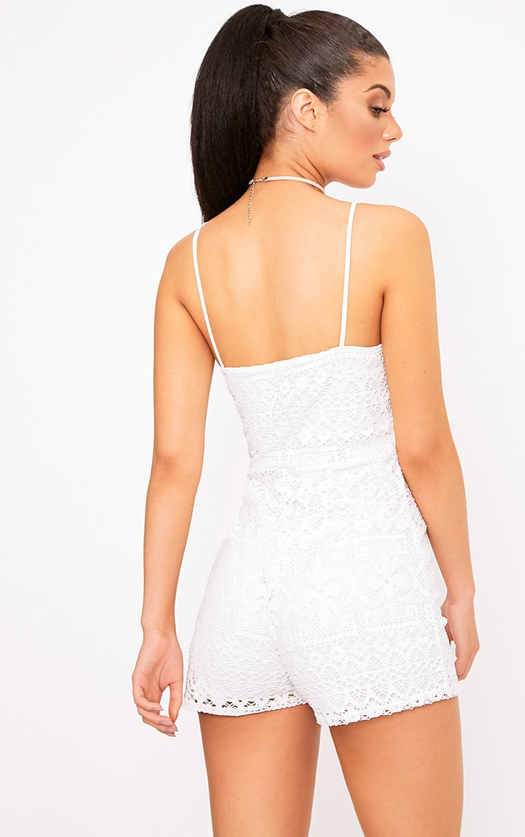 Cream Lace Embroidered 90's Neck Playsuit  2