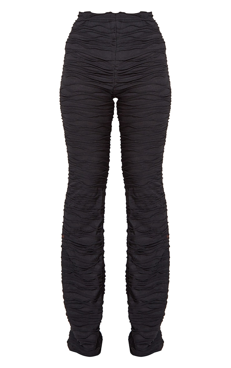 Black Pleated Jersey Skinny Flared Pants 5
