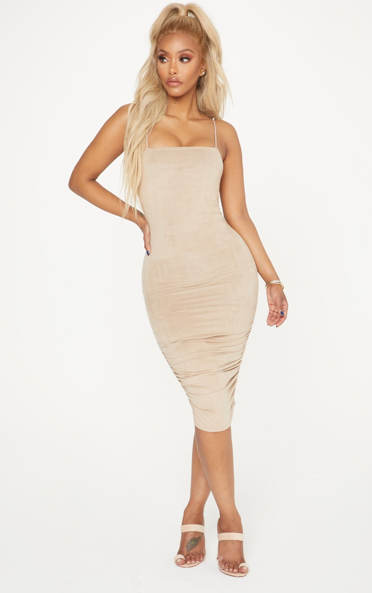 Shape Stone Faux Suede Ruched Midi Dress 4