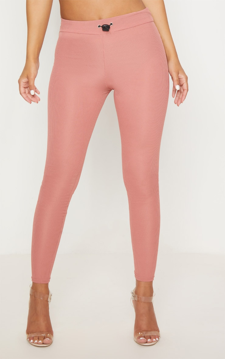 Petite Dusky Pink Ribbed Leggings 2