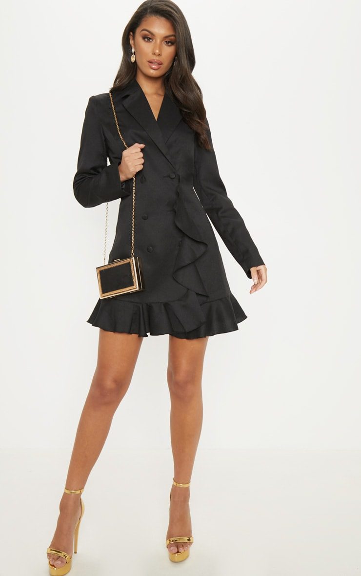 Black Frill Detail Blazer Dress 4