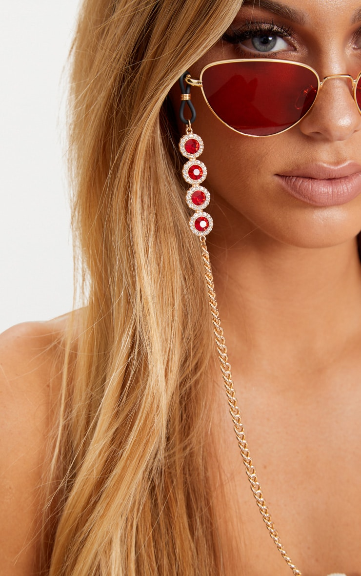 Red Gem Sunglasses Chain 1