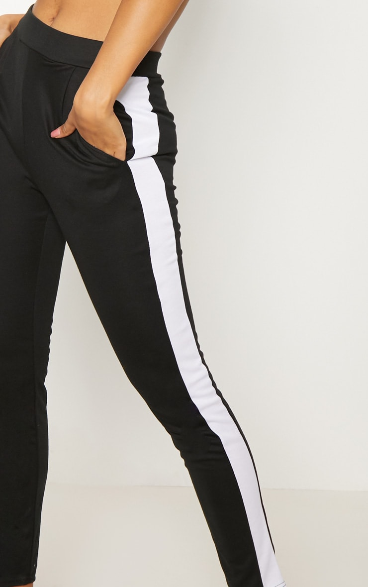 Black Ponte Contrast Side Stripe Trouser   5