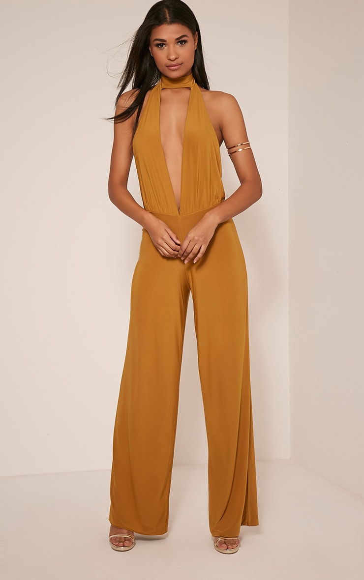 Laurie Gold Backless Choker Detail Slinky Jumpsuit 1