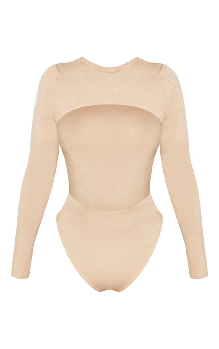 Shape - Body manches longues en jersey gris pierre à dos nu 4
