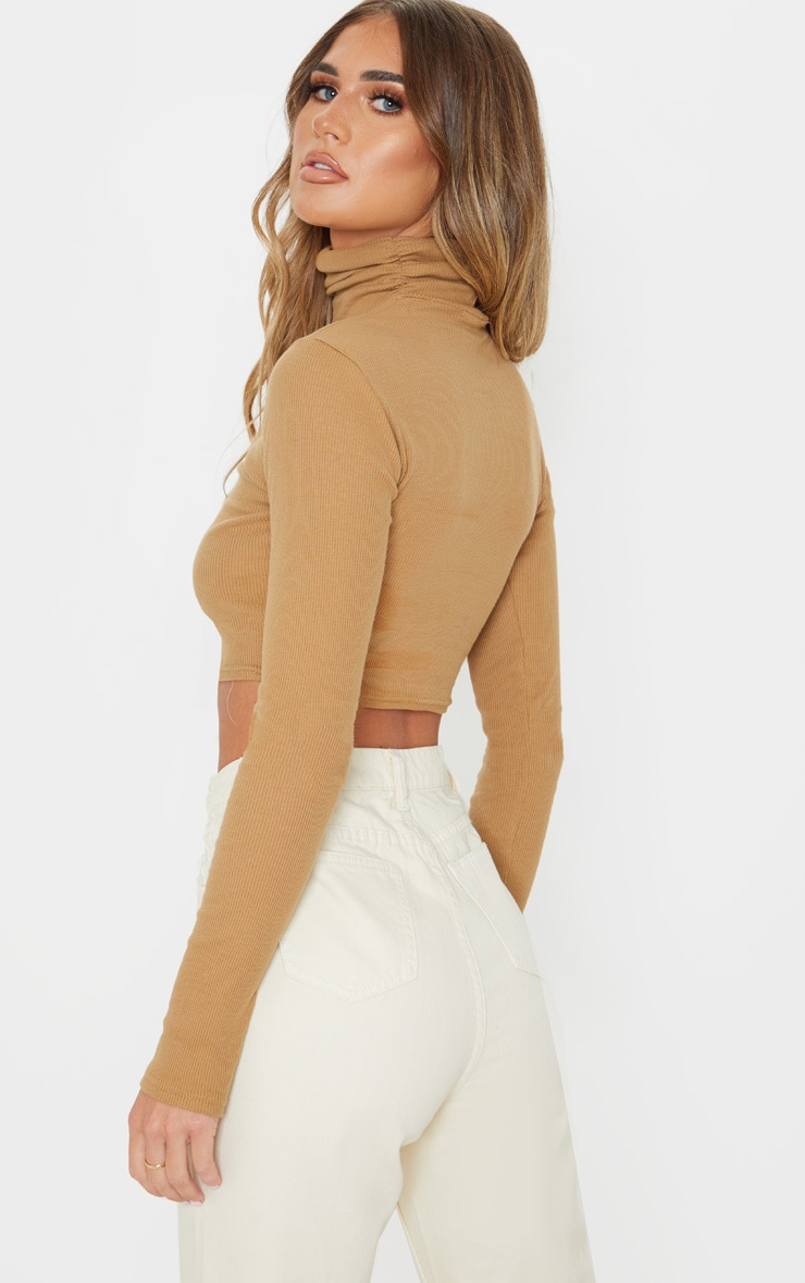 Tan Ribbed Roll Neck Crop Top 2