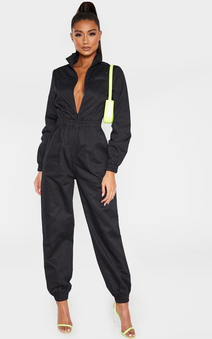 Black Utility Contrast Zip Jumpsuit 1