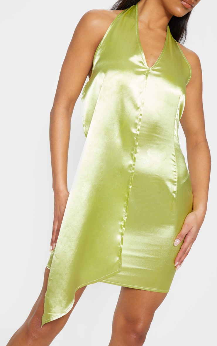 Chartreuse Halterneck Swing Dress 5
