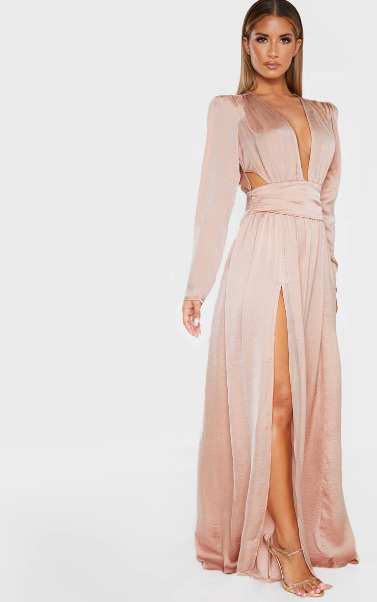 Nude Puff Sleeve Extreme Plunge Waist Detail Maxi Dress 4