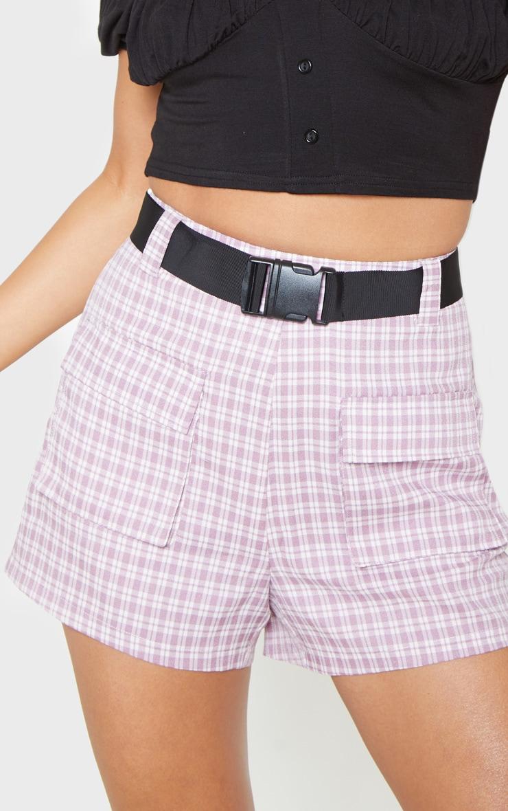Lilac Check Print Pocket Detail Belted Short 6
