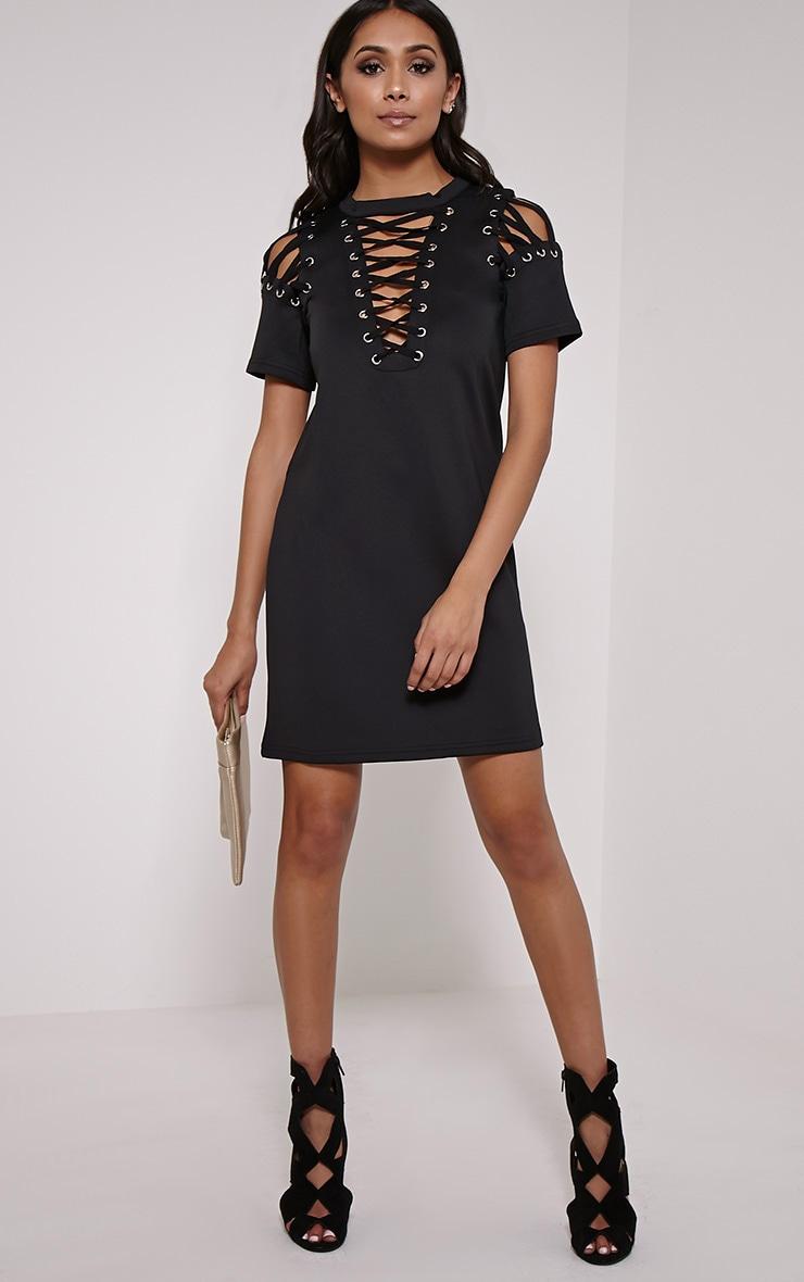 Rowan Black Scuba Lace Up Shift Dress 3