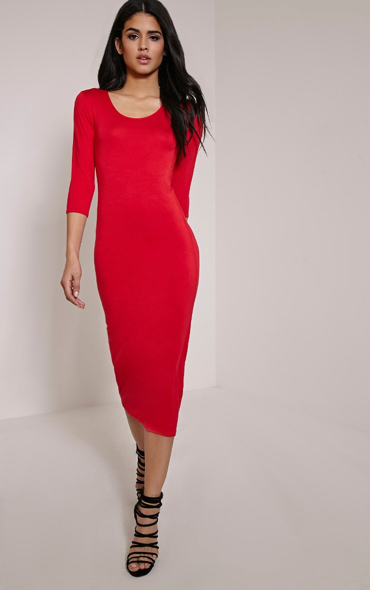 Basic Red Long Sleeve Midi Dress 4