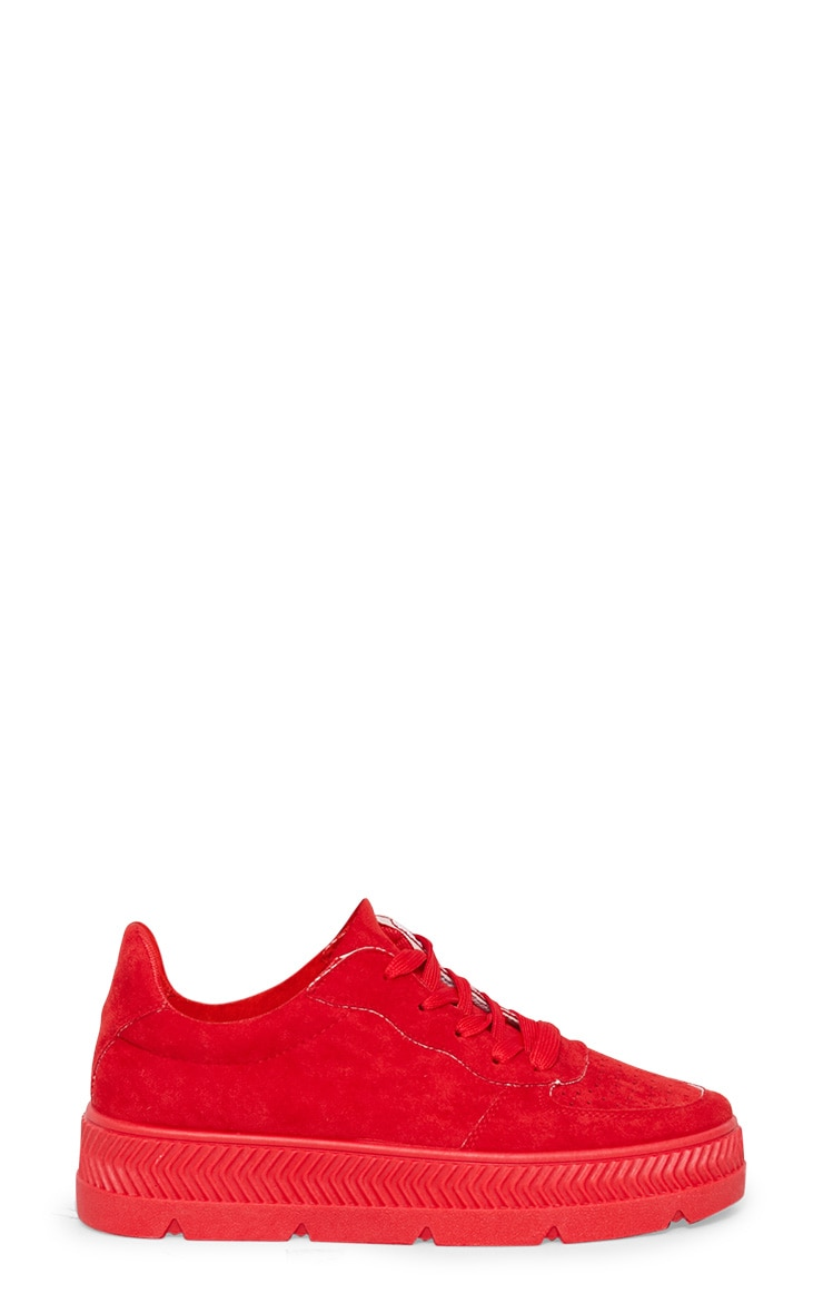 Red Cleated Sole Flatform Trainers 3