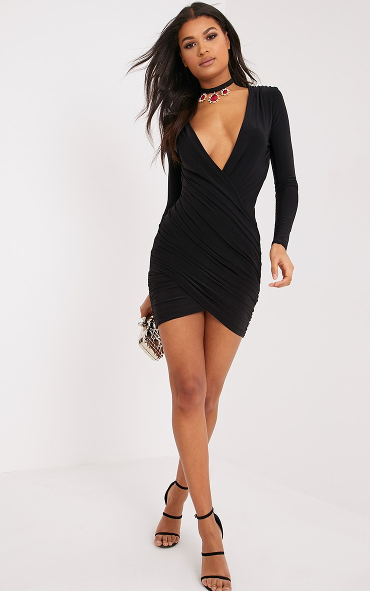 Meeah Black Ruched Plunge Wrap Over Bodycon Dress 4