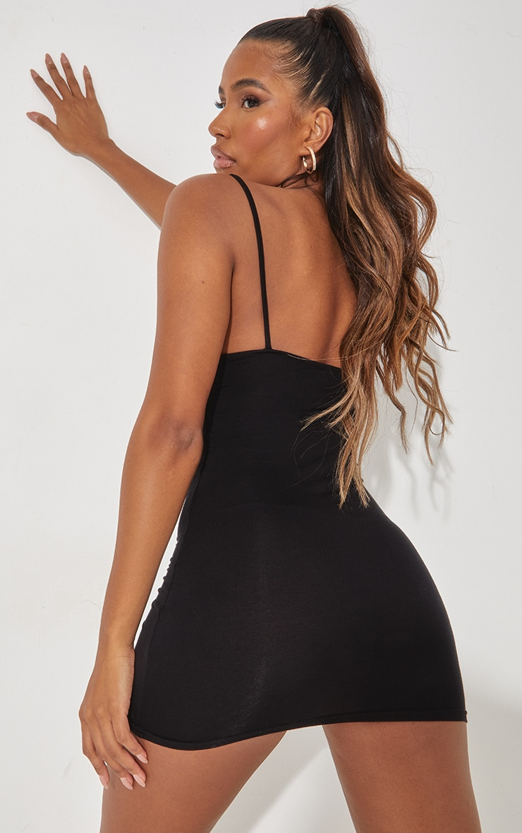 Basic Black Extreme Plunge Strappy Bodycon Dress 3