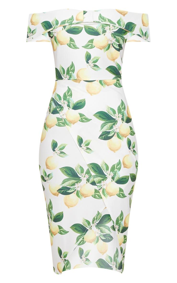 White Lemon Print Bardot Bow Detail Wrap Midi Dress 3