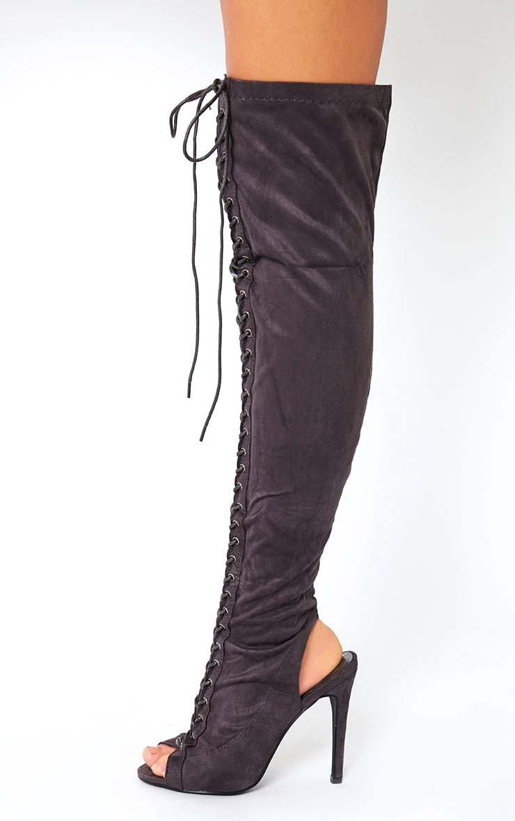 Valentina Grey Suede Lace Up Thigh Boots 2