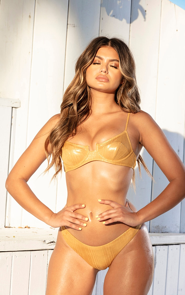 Gold Metallic Underwire Bikini Top