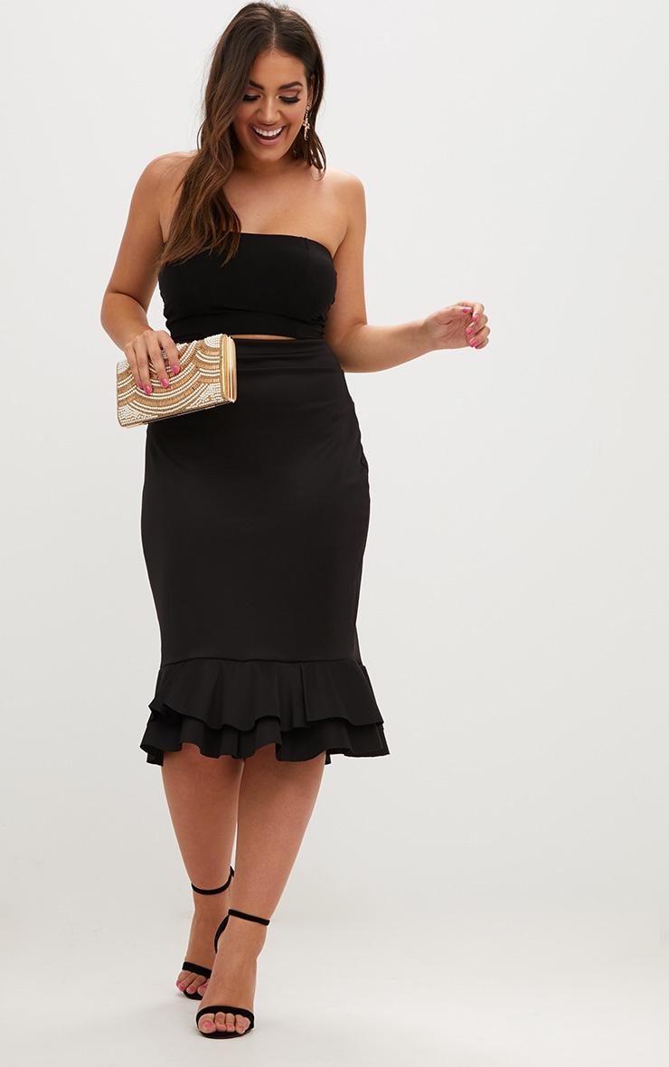 Plus Black Frill Hem Midaxi Skirt 4