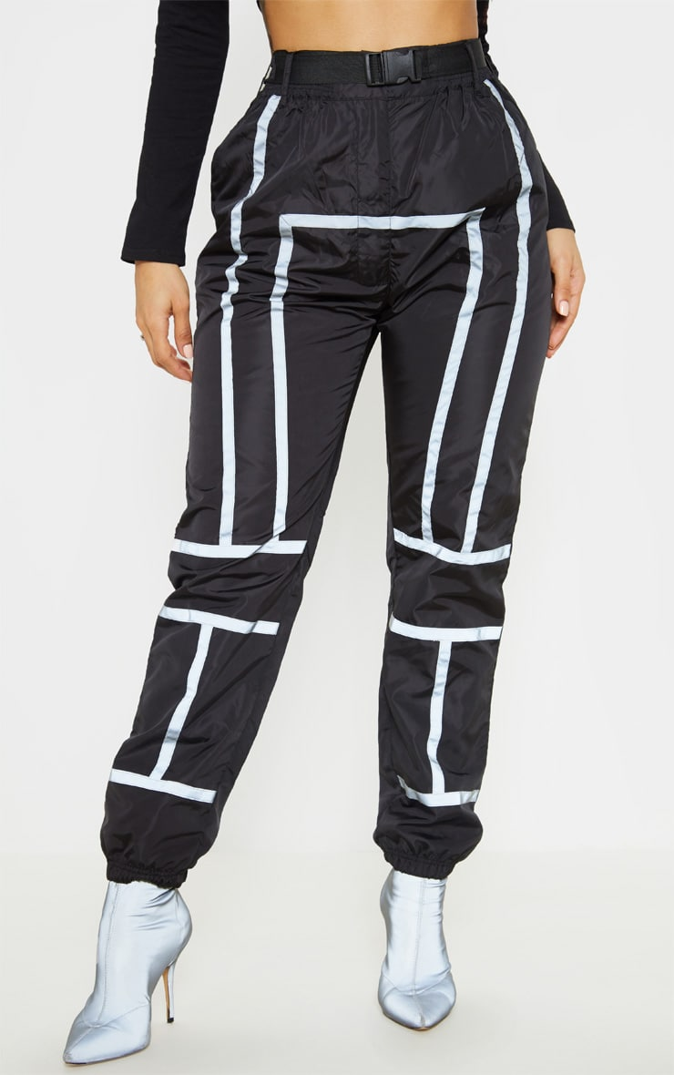 Black Shell Reflective Tape Belt Detail Jogger 2