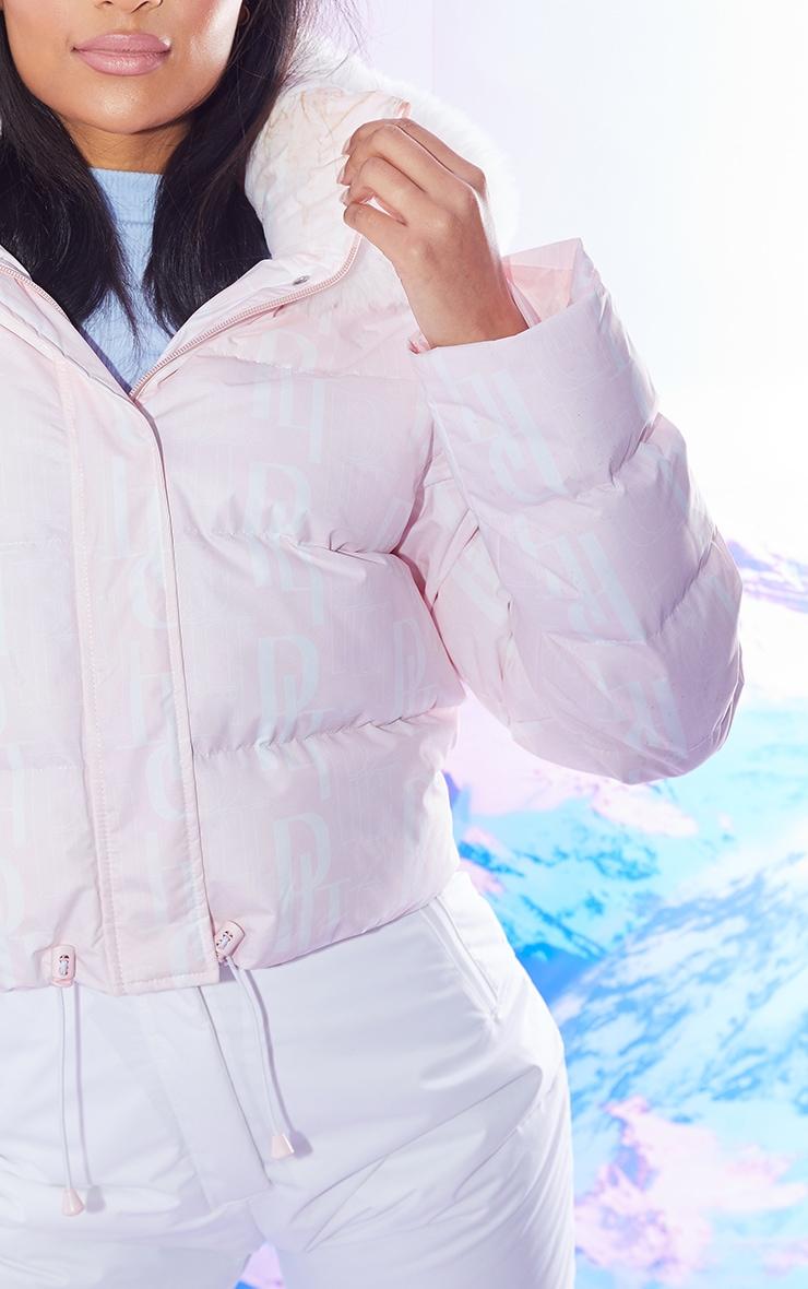 PRETTYLITTLETHING Ski Pastel Pink Faux Fur Hooded Puffer Coat 4