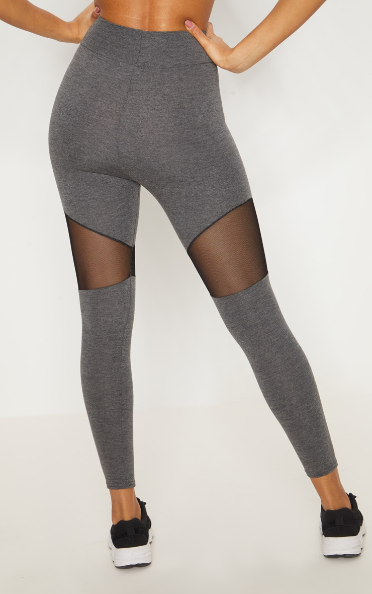 Grey Mesh Panel Jersey Legging  4