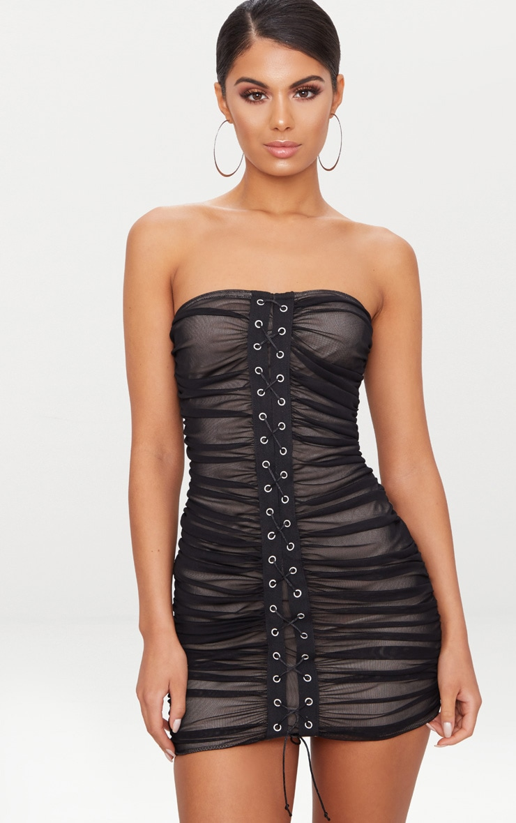 Black Mesh Bandeau Eyelet Ruched Detail Bodycon Dress 1